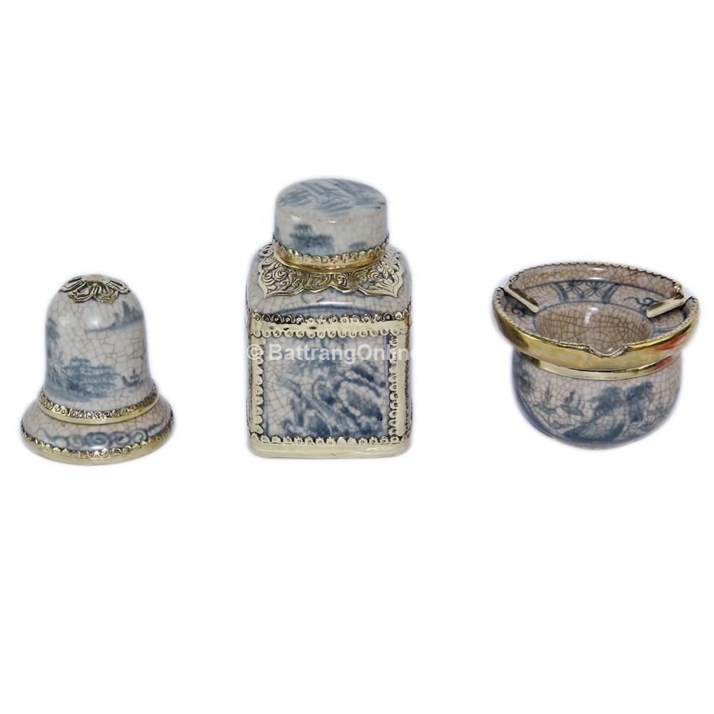 Bộ phụ kiện gốm - gạt tàn - lọ chè vuông - ống tăm - men rạn