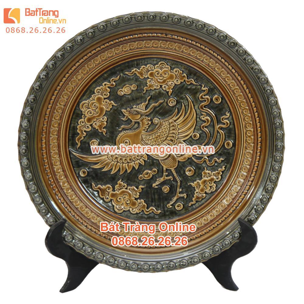 Đĩa cảnh - khắc phượng hoàng - men rạn cổ - viền đắp nổi - đường kính 35cm