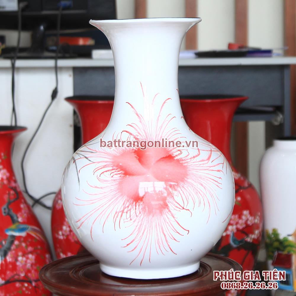Tỏi sơn mài đại vẽ hoa bông nền trắng cao 36cm