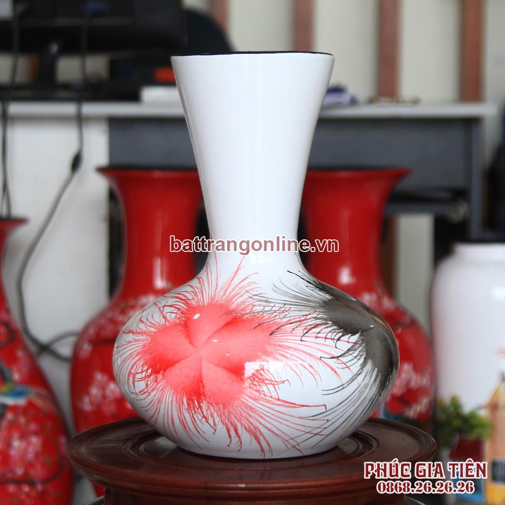 Tỏi sơn mài miệng vẽ hoa bông đỏ cao 31cm