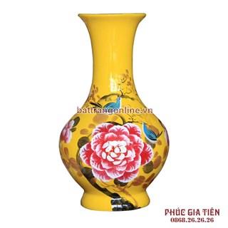 Tỏi sơn mài vẽ hoa mẫu đơn nền vàng cao 38cm
