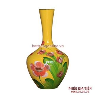 Tỏi sơn mài cổ thẳng vẽ hoa lan nền vàng cao 35cm