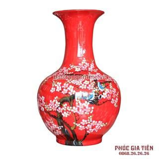 Tỏi sơn mài đại vẽ hoa đào nền đỏ cao 64cm