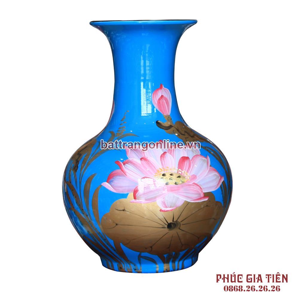 Tỏi sơn mài đại vẽ hoa sen nền xanh cao 36cm