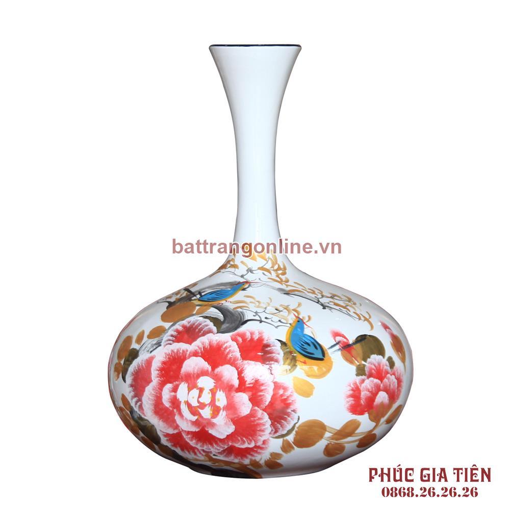 Tỏi sơn mài dẹt vẽ hoa mẫu đơn nền trắng cao 40cm