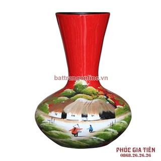 Tỏi sơn mài miệng loe vẽ cảnh đồng quê nền đỏ cao 31cm