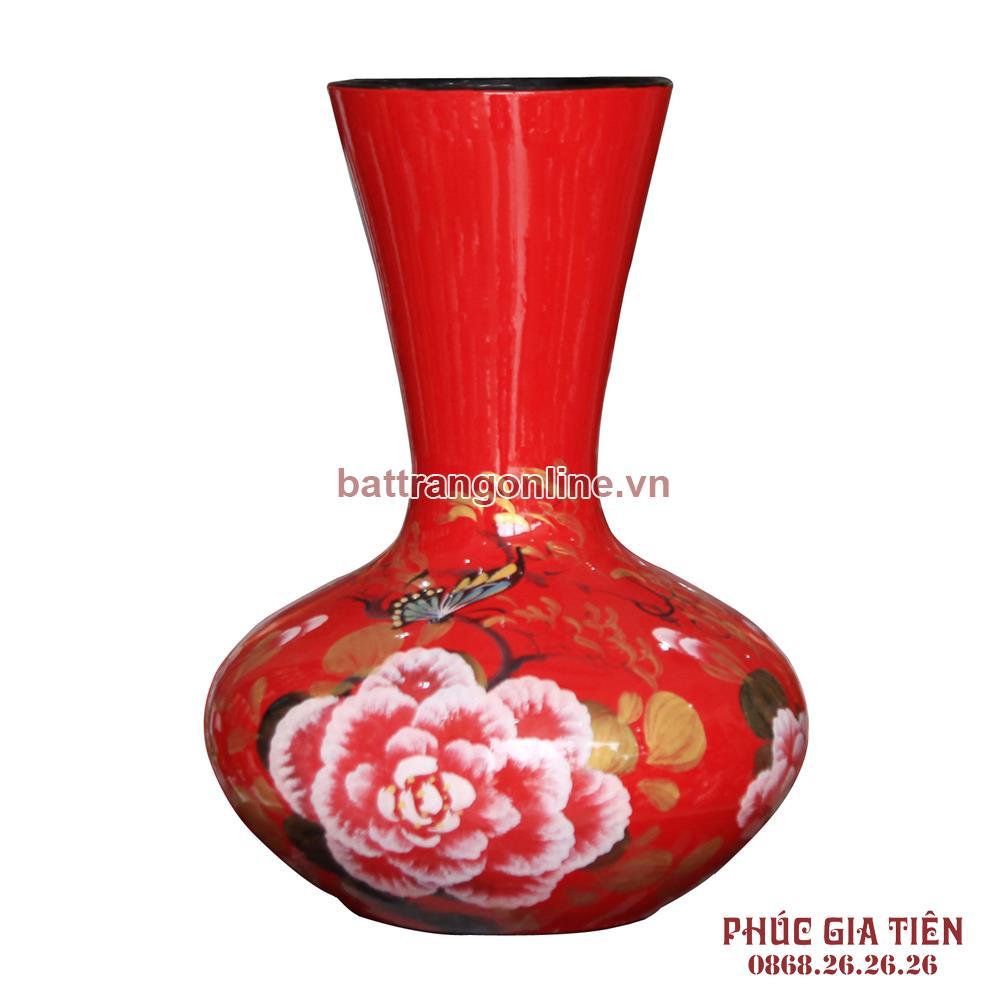 Tỏi sơn mài miệng vẽ hoa mẫu đơn nền đỏ cao 31cm