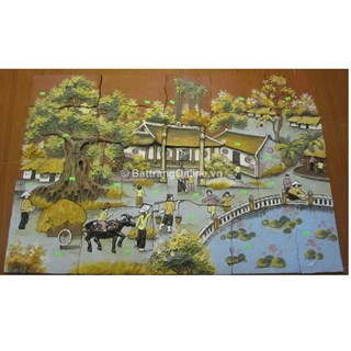 Tranh gốm ghép cảnh cây Đa Giếng nước sân Đình