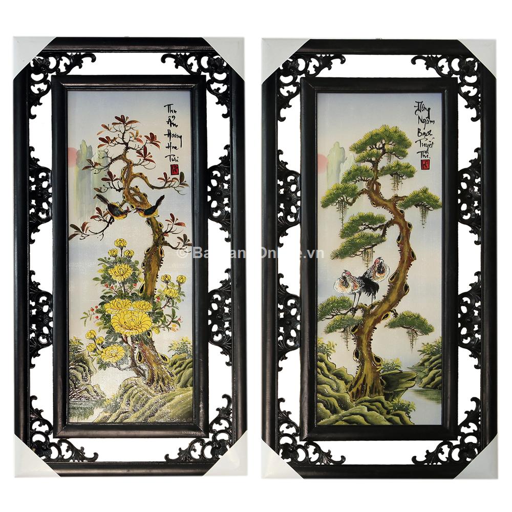 Bộ Tranh tứ quý vẽ cảnh Tùng - Cúc - Trúc - Mai - đắp nổi - cao 82cm, rộng 41cm