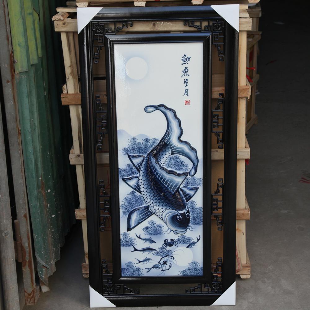 Tranh đắp nổi cá chép trông trăng màu chàm- cao 1m rộng 50cm