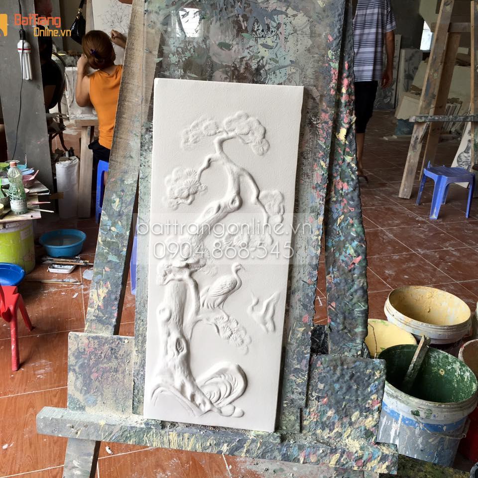 Tranh tứ quý Tùng - Cúc - Trúc - Mai đắp nổi men màu - rộng 52cm - cao 125cm