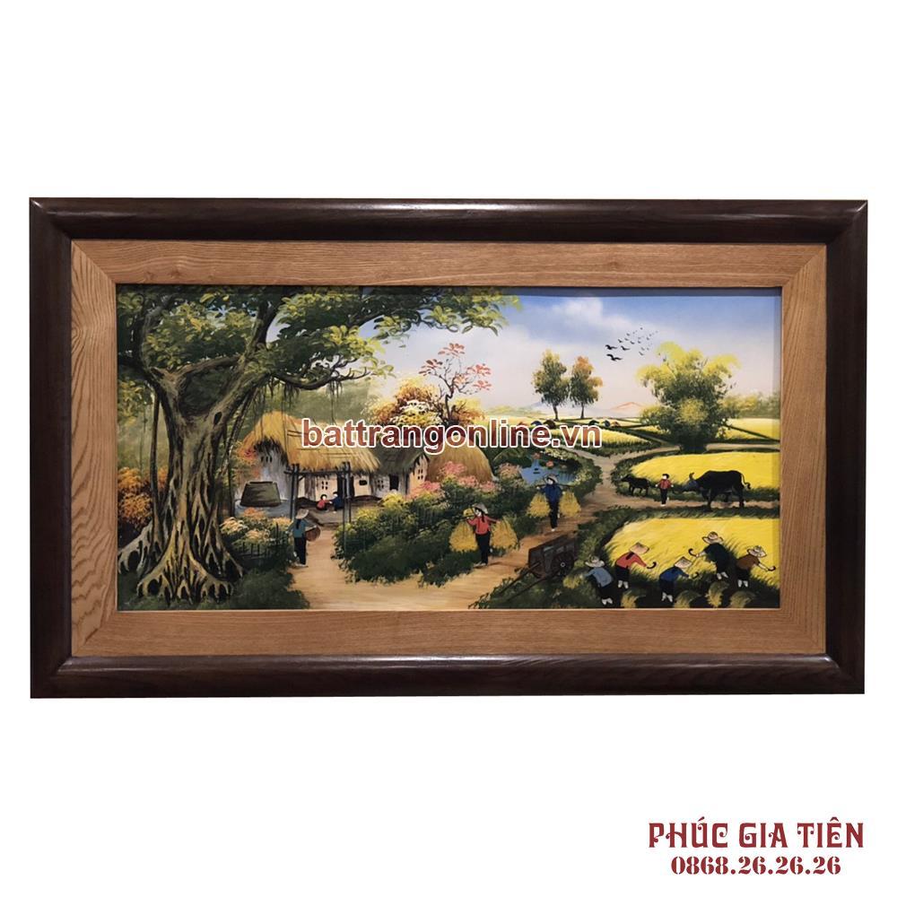 Tranh sứ vẽ cảnh đồng quê Việt Nam