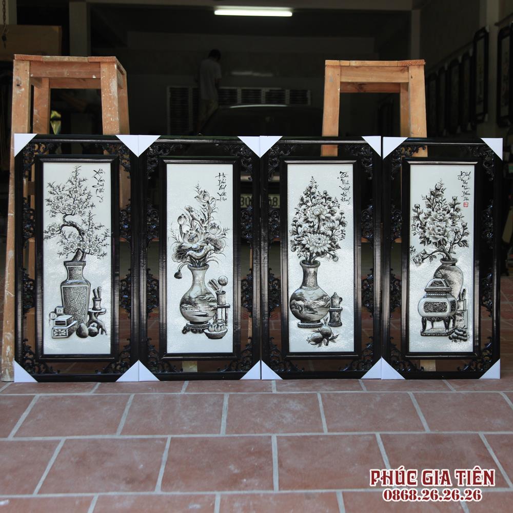 Tranh tứ quý đắp nổi cổ đồ men đen trắng cao 87cm rộng 43cm