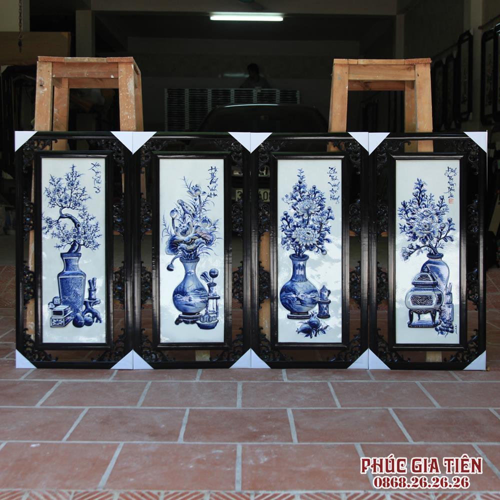 Tranh tứ quý vẽ cổ đồ - đắp nổi - men tràm - rộng 42cm - cao 85cm