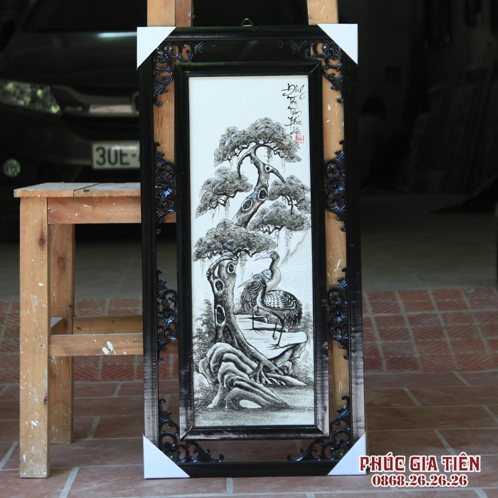 Tranh tứ quý Tùng - Cúc - Trúc - Mai đắp nổi màu đen - rộng 43cm - cao 87cm