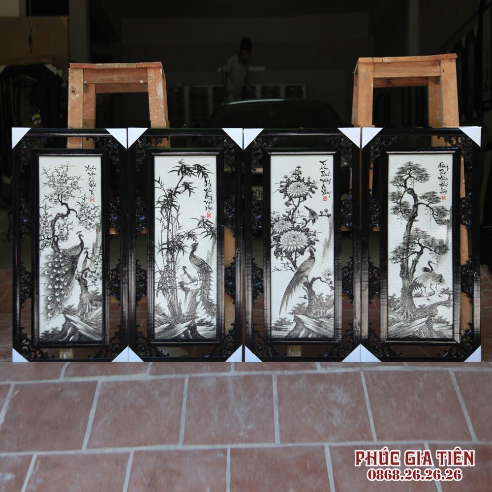 Tranh tứ quý Tùng Cúc Trúc Mai đen trắng cao 87cm rộng 42cm