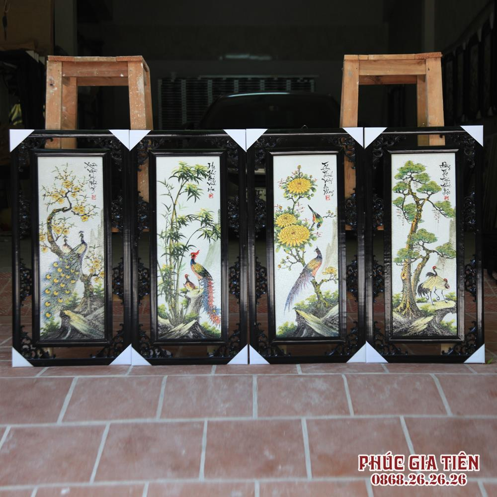 Tranh tứ quý Tùng Cúc Trúc Mai S3- Vẽ tay - Các loài chim quýcao 87cm rộng 43cm