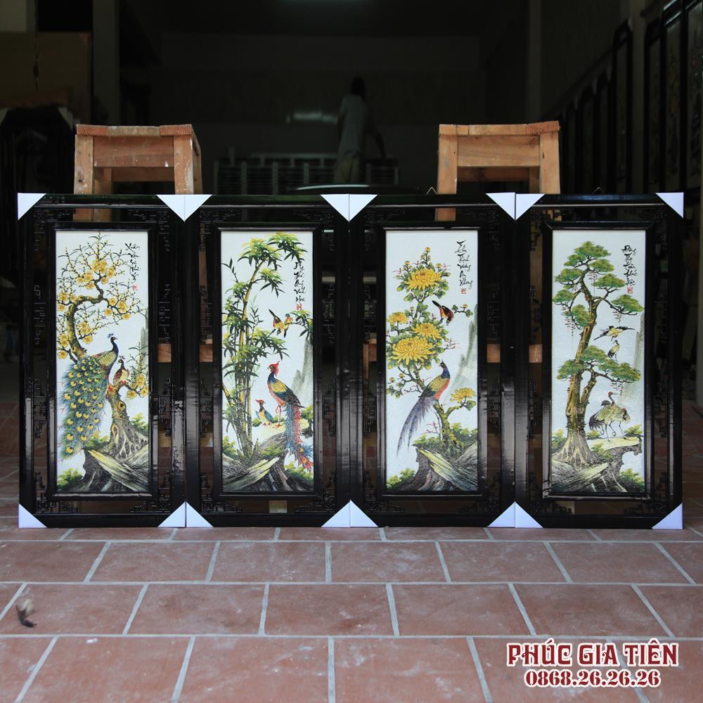 Tranh tứ quý Tùng Cúc Trúc Mai S2- Vẽ tay - Các loài chim quý cao 100cm rộng 50cm