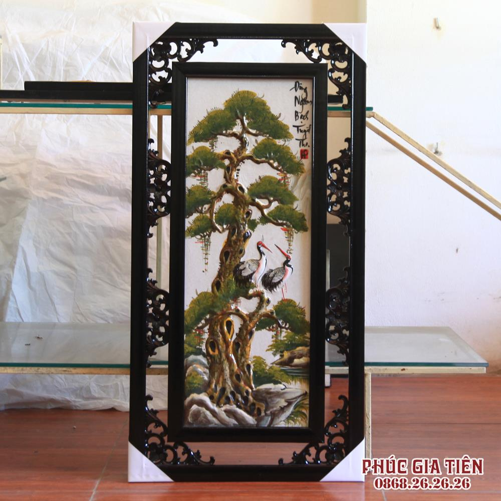 Bộ Tranh tứ quý đắp nổi cảnh Đào - Trúc - Cúc - Tùng - đắp nổi - cao 82cm, rộng 42cm