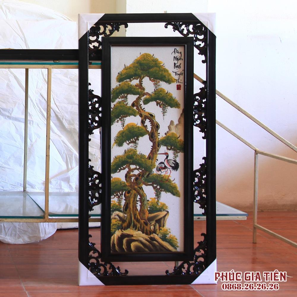 Tranh Tứ Quý - vẽ cảnh Đào - Trúc - Cúc -Tùng - Cao 82cm, rộng 42cm