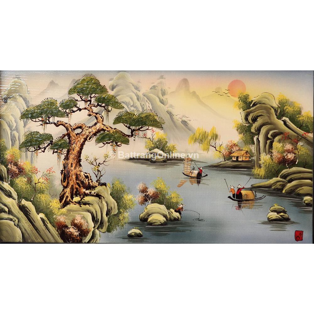 Tranh sứ vẽ cảnh Sơn Thủy - cao 42cm, rộng 66cm
