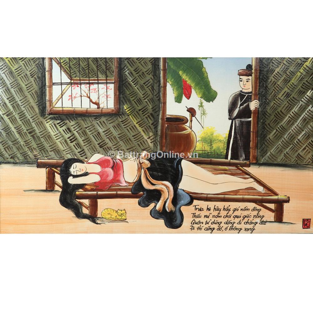 Tranh vẽ cảnh Cô Gái Ngủ Trưa - cao 52cm, rộng 89cm