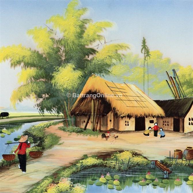 Tranh vẽ cảnh đồng quê 06 - cao 42cm, rộng 66cm   Tranh phong cảnh