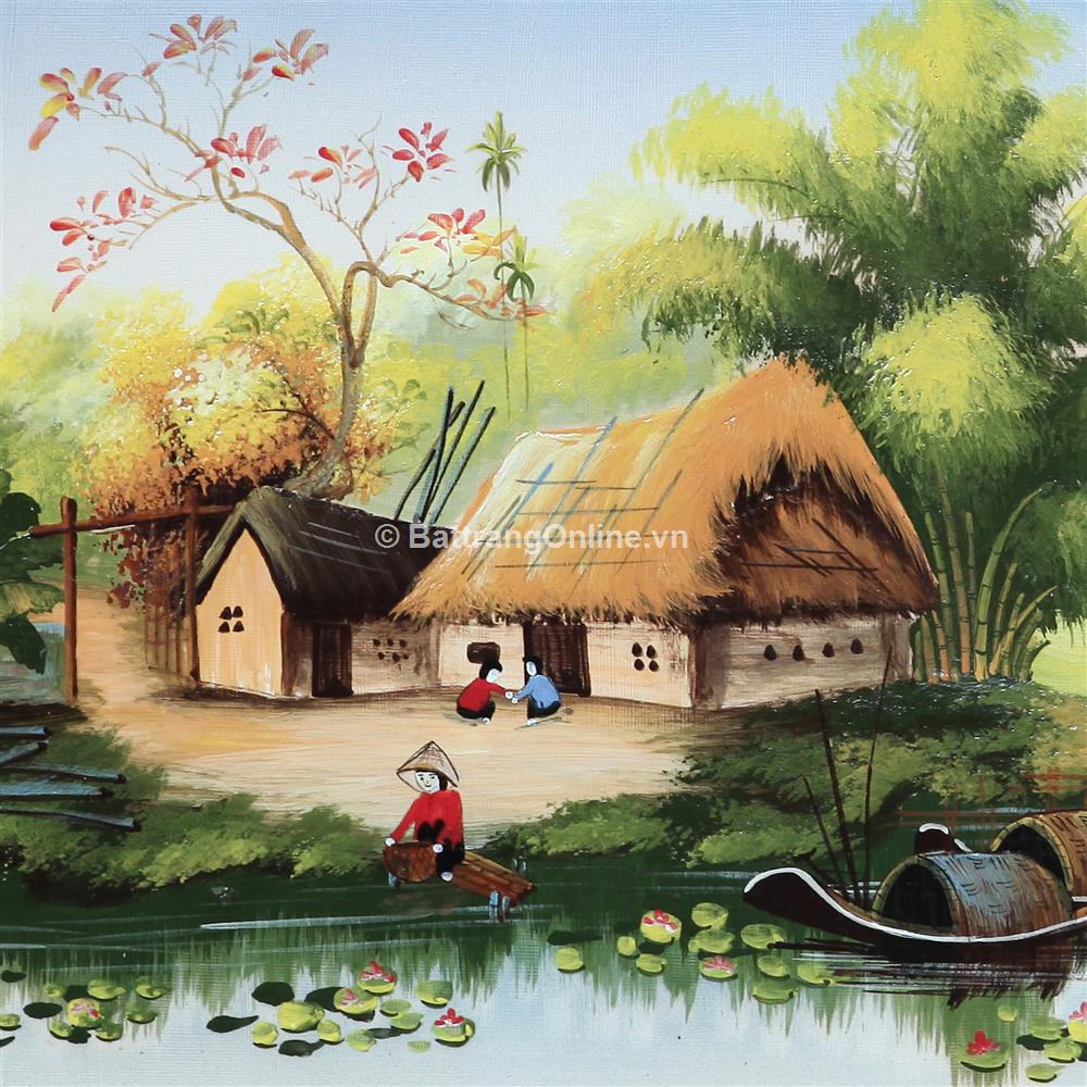 tranh vẽ cảnh đồng quê 08 - cao 42cm, rộng 66cm