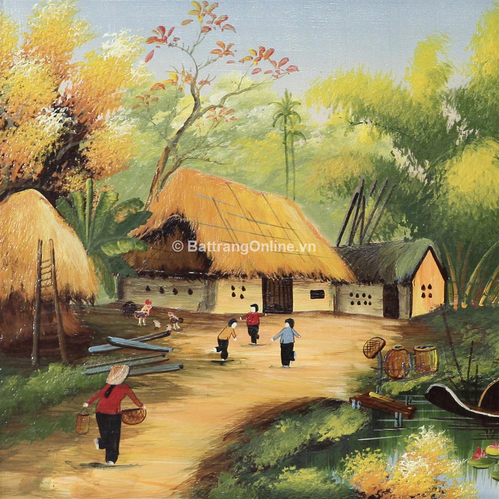 tranh vẽ cảnh đồng quê 09 - cao 52cm, rộng 89cm