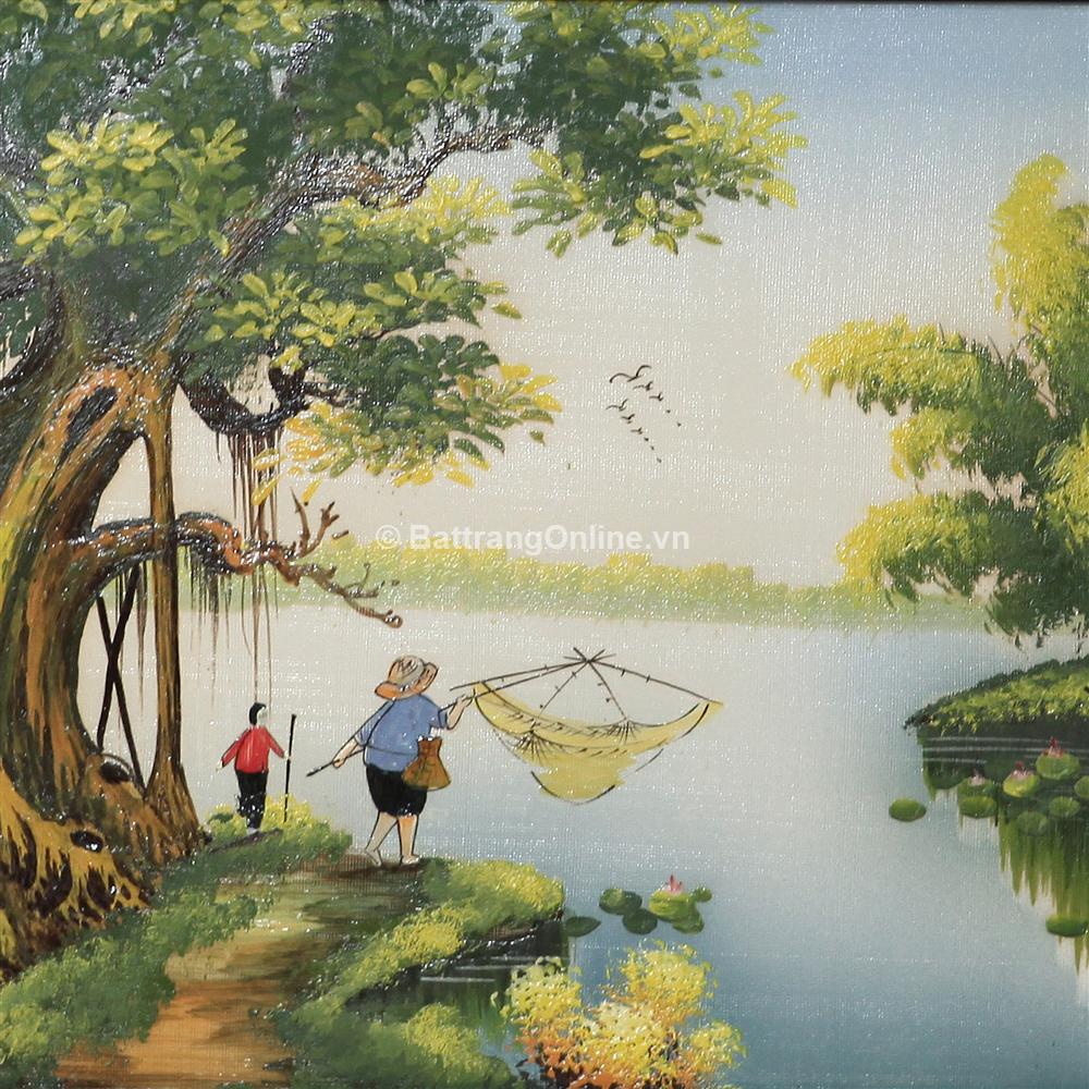 Tranh vẽ cảnh đồng quê 10 - cao 52cm, rộng 89cm