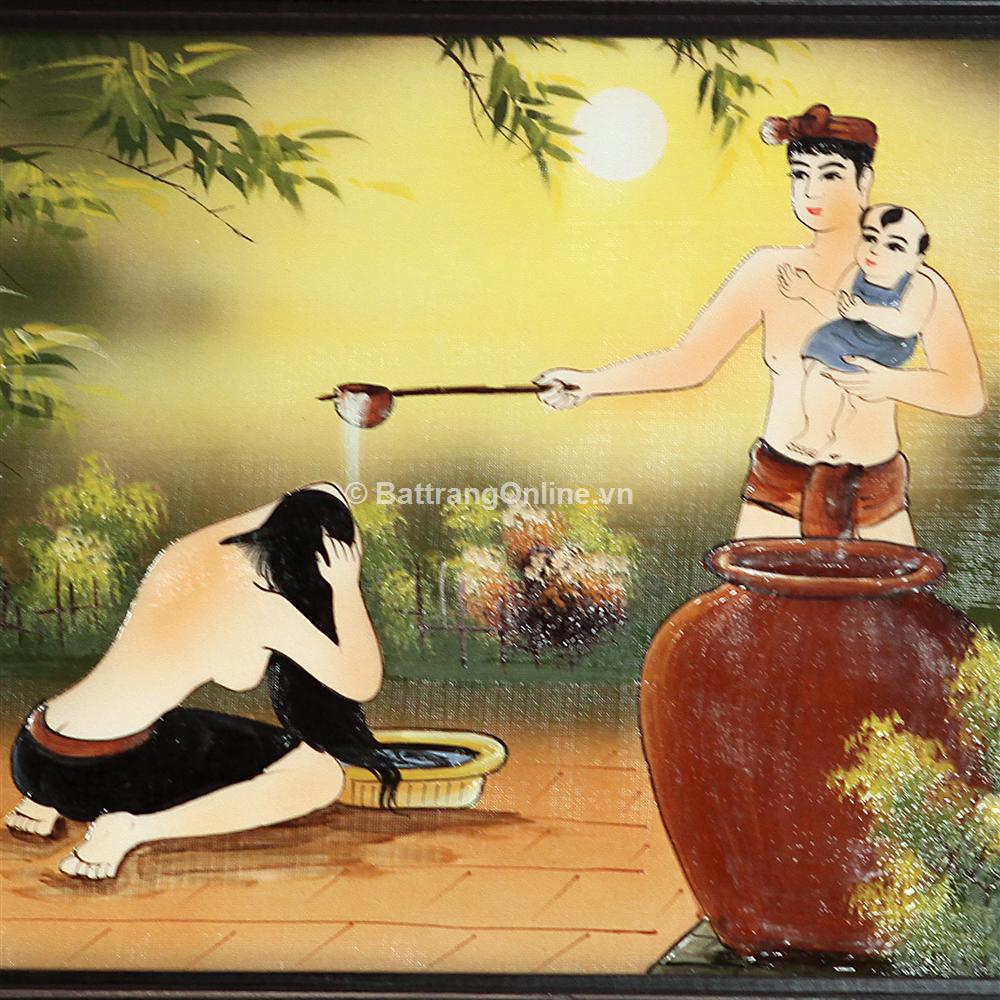 Tranh vẽ cảnh gia đình hạnh phúc - cao 42cm, rộng 66cm