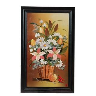 Tranh vẽ cảnh giỏ hoa - cao 66cm, rộng 42cm