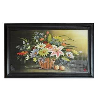 Tranh vẽ cảnh giỏ hoa - cao42cm, rộng 66cm