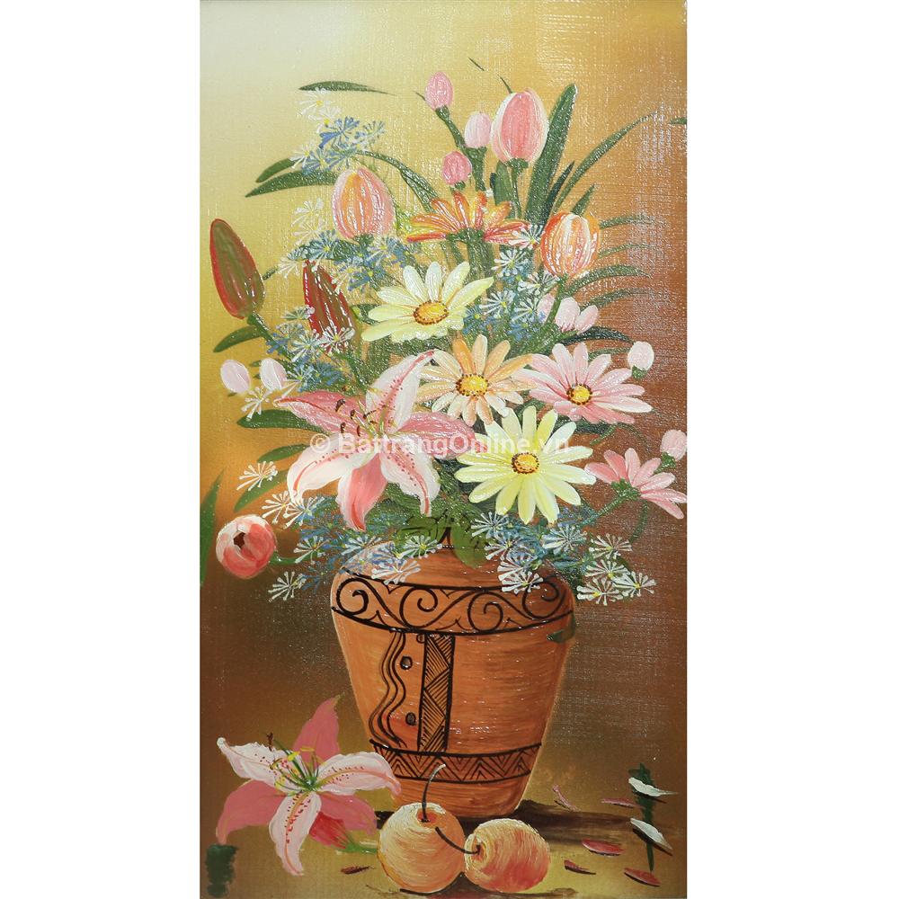 Tranh vẽ cảnh Hoa Ly Cúc - cao 66cm, rộng 42cm