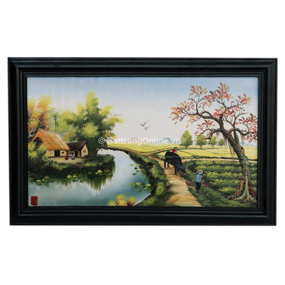 Tranh sứ vẽ cảnh đồng quê 02 - cao 42cm, rộng 66cm
