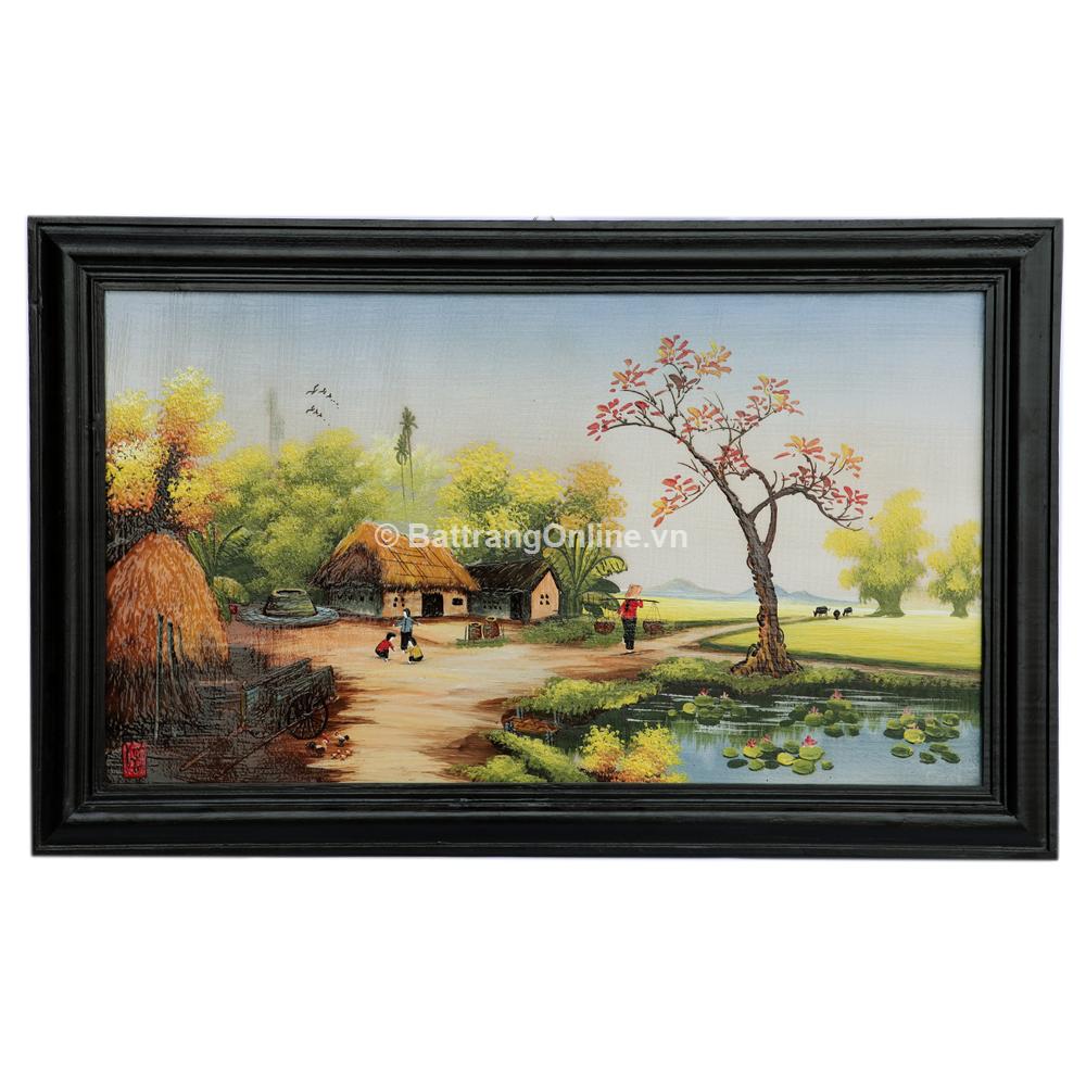 Tranh vẽ cảnh đồng quê 01 - cao 42cm, rộng 66cm