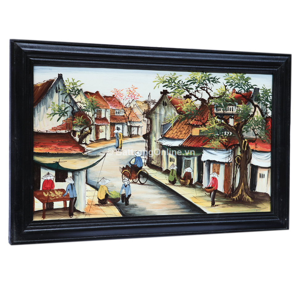 Tranh vẽ cảnh phố cổ 01 - cao 42cm, rộng 66cm