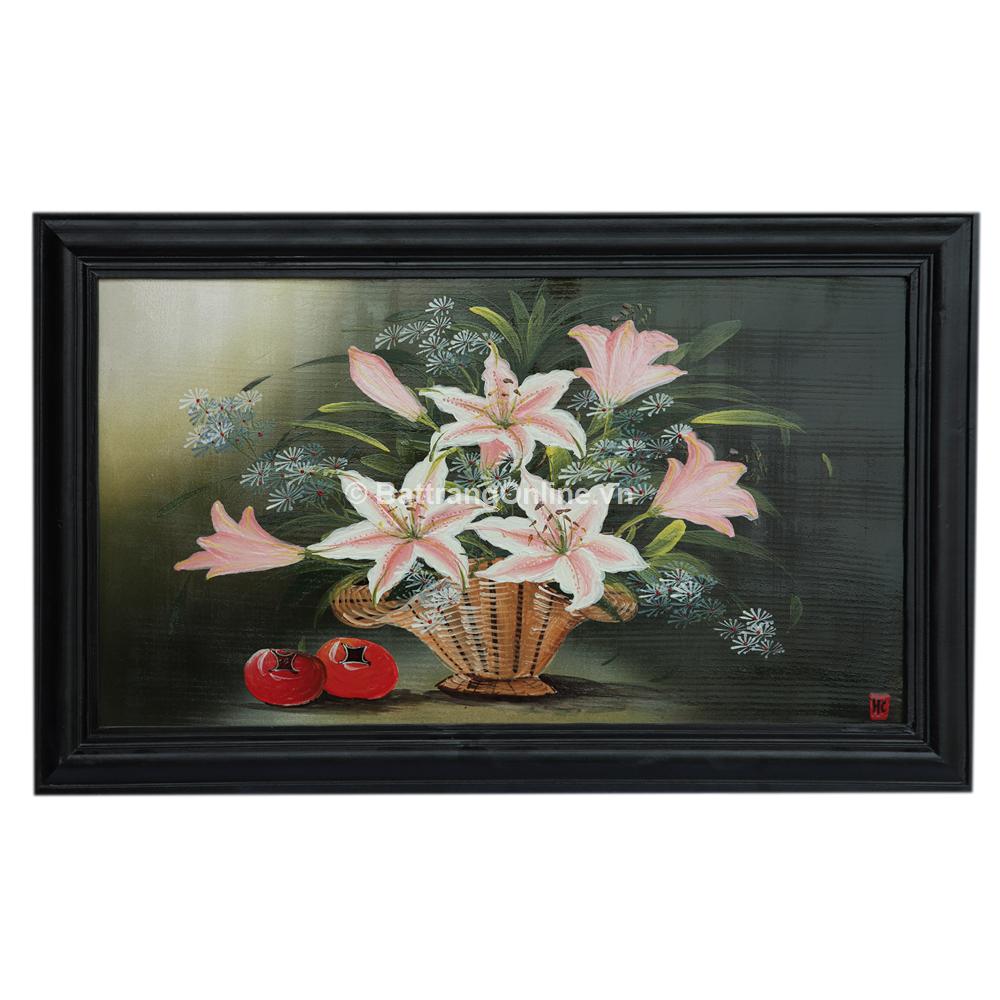 Tranh vẽ hoa ly - cao 42cm, rộng 66cm
