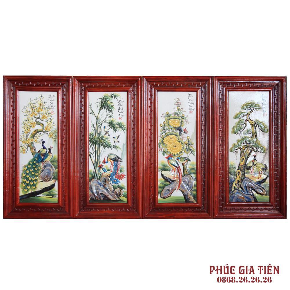 Tranh sứ đắp nổi tùng cúc trúc mai khung gỗ hương cao 98cm rộng 48cm