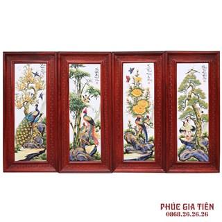 Tranh sứ tùng cúc trúc mai cao cấp, khung gỗ hương 117cm x 52cm