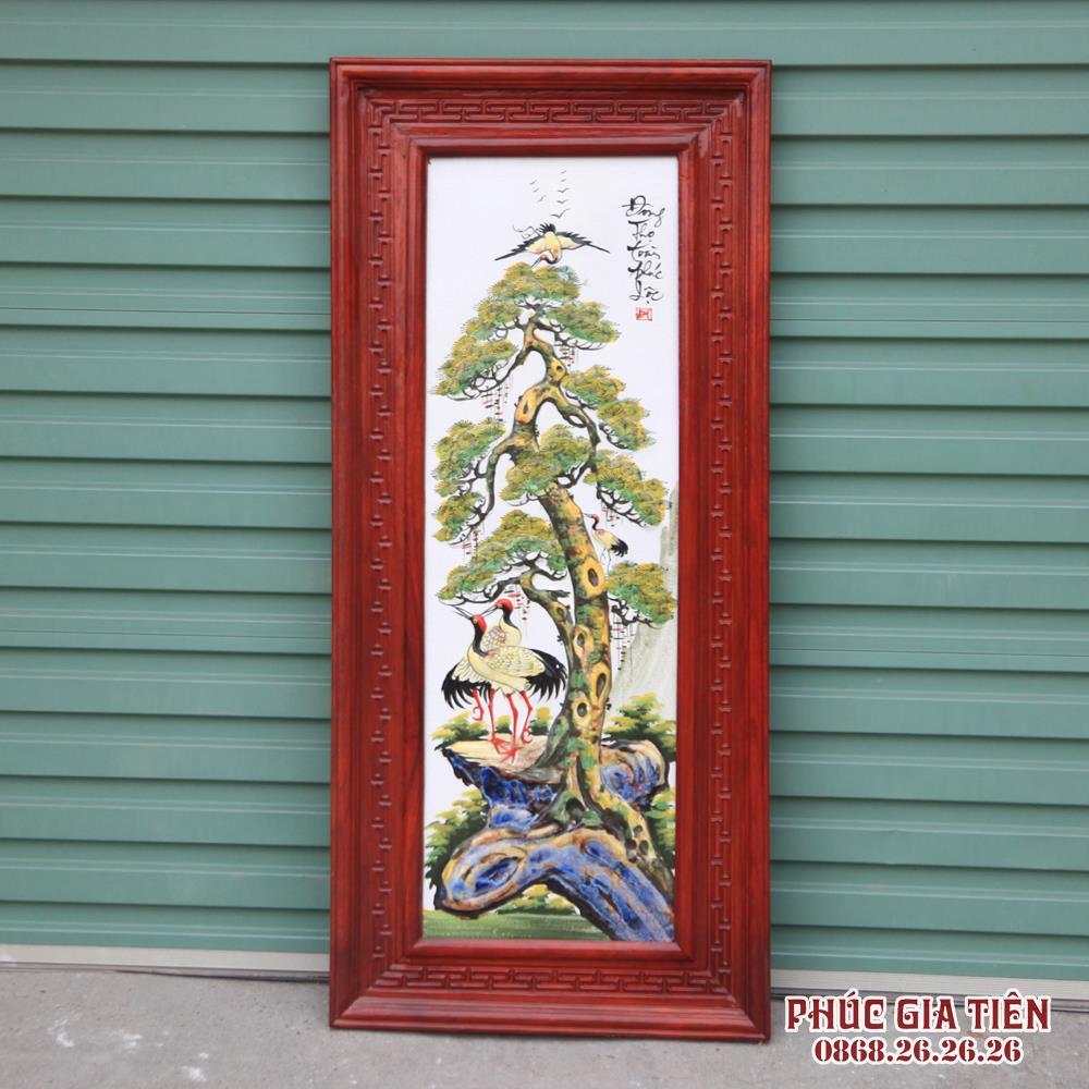 Tranh tứ quý đắp nổi khung gỗ hương cao 98cm rộng 48cm