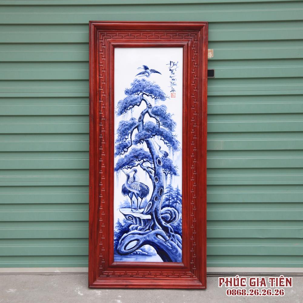 Tranh sứ đắp nổi tùng cúc trúc mai - men tràm - khung gỗ hương cao 117cm rộng 52cm