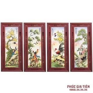Tranh tứ quý Tùng - Cúc - Trúc - Mai khung gỗ hương, cao 117cm rộng 52cm