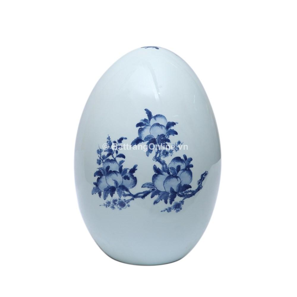 Quả trứng phong thủy vẽ đồ cổ - Cao 45cm