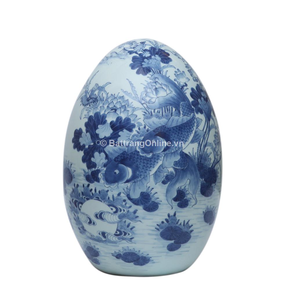 Quả trứng phong thủy - vẽ Lý Ngư Vọng Nguyệt