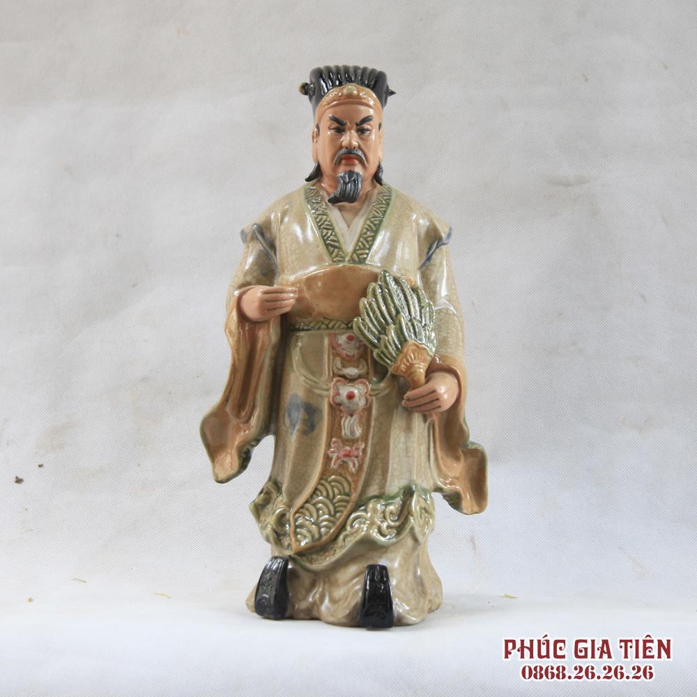 Tượng Khổng Minh - men rạn - cao 60cm