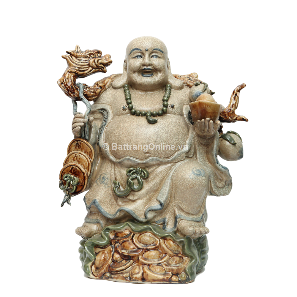 Tượng Di Lặc Gánh Tiền Đào - Men rạn - cao 50cm