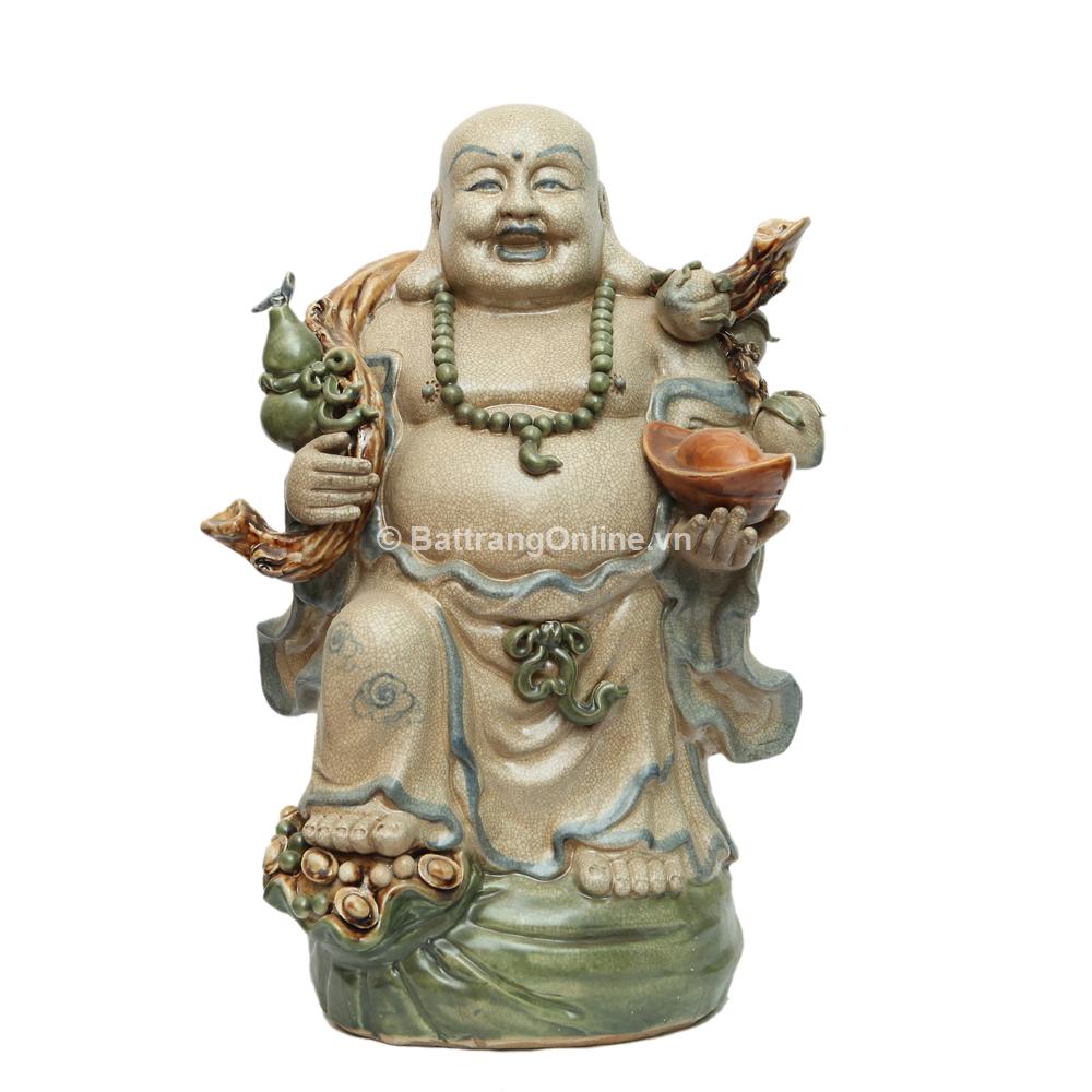 Tượng Di Lặc Gánh Tiền Hồ Lô Đào - Men rạn - Cao 52cm
