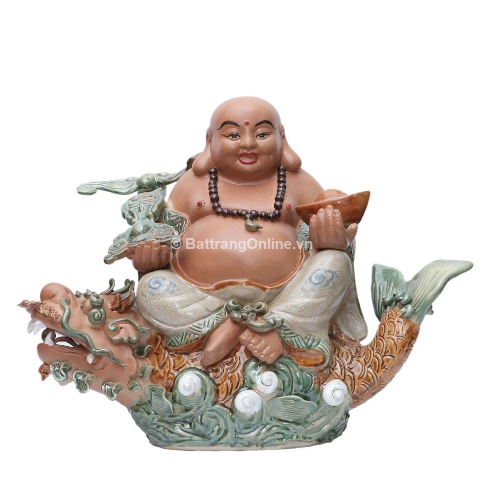 Tượng Di Lặc ngồi cá Chép hóa Rồng - Cao 40 cm - Rộng 60cm