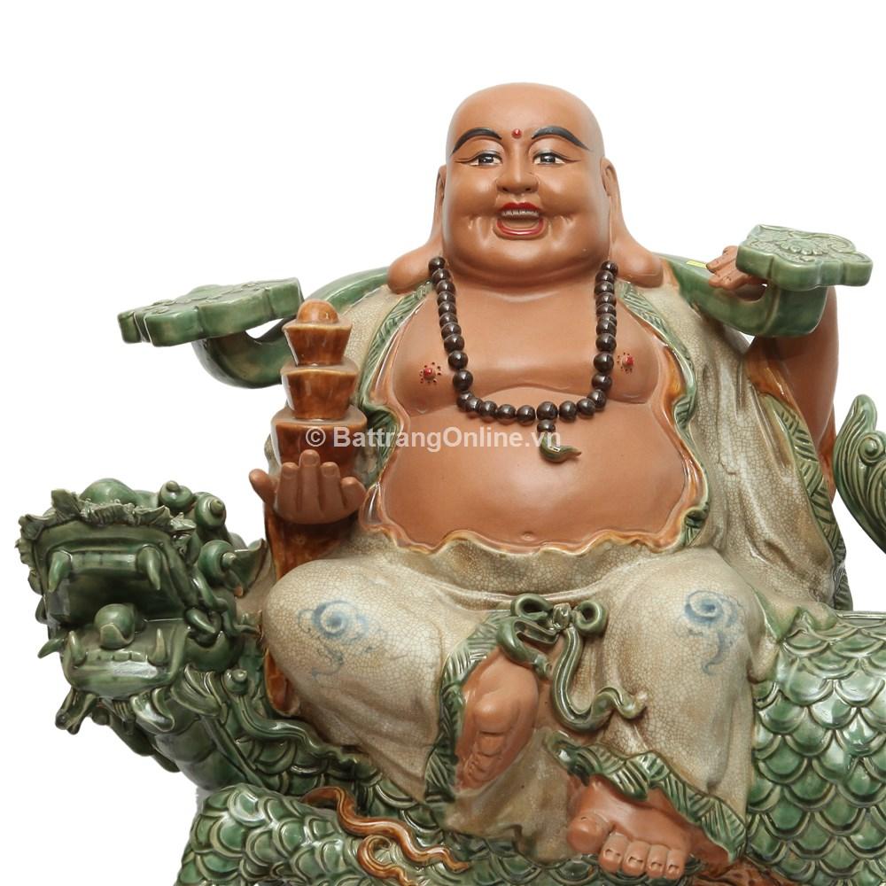 Tượng Di Lặc Ngồi Kỳ Lân - Men rạn da - màu Xanh ngọc - cao 70cm